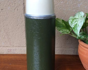"""1950's Vintage Green Metal Thermos Brand Thermos with Cream Cap and original Cork, 10""""H"""