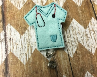 Scrub Top Badge Reel, Badge Clip, Retractable Name Badge, ID Holder, Teacher ID Clip, Badge Pull
