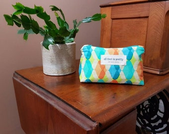 Small sized fully lined Makeup or Cosmetic Bag 100% cotton - Geometric print
