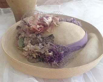 Unbelievably gorgeous 1940's silk rose and lilac millinery flowers and feather straw hat