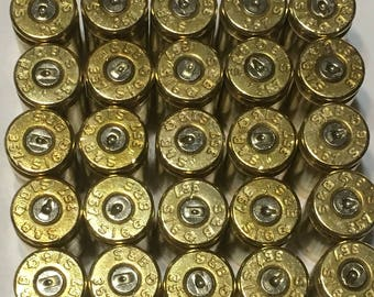 25 clean and polished 357 SIG bullet brass, bullet jewelry supplies, bullet shell jewelry, bullet casing jewelry, reloading, molon labe