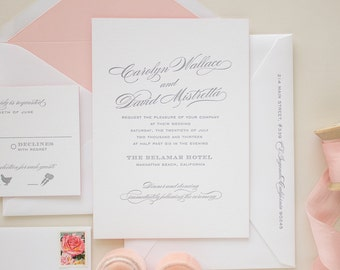 Elegant Wedding Invitations in Grey Letterpress, Pink Edge Painting Double Thick Paper, Classic Letterpress Invitations | SAMPLE | Blushing