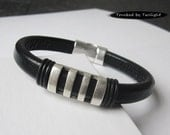 Mens Black Leather Bracelet with Antique Silver Slotted Slider and Magnetic Clasp, Husband Gift, Boyfriend Gift, Fathers Day Gift