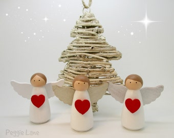 Set of 3 Christmas decorations, Angel, Peg Doll Angel, Christmas Fairy, Christmas Tree Decoration, Peg Doll Fairy, Fairy, Fairy Decoration