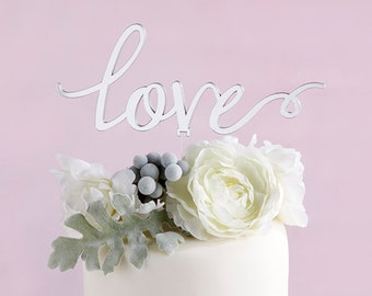 Elegant Silver Mirror LOVE Cake Topper Wedding Cake Toppers Decoration