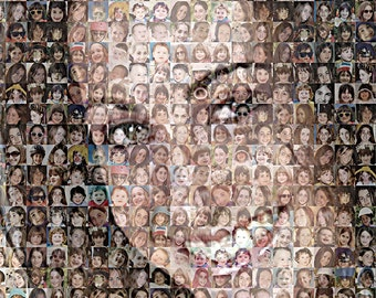 "TRUE Custom Photo Mosaic Print Art Using 50-200 of your Personal Photos- 16x20"" and up-OOAK"