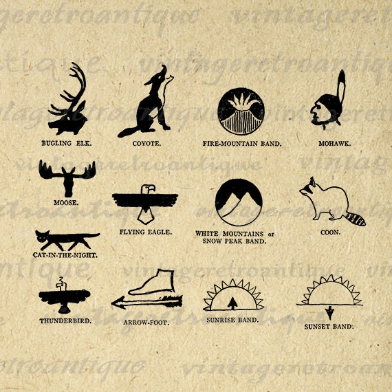Printable Native American Indian Symbols Digital Download Graphic Image Antique Clip Art Jpg Png Eps  HQ 300dpi No.1012