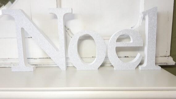 Noel christmas silver glitter covered freestanding wooden decoupaged letters. 15cm