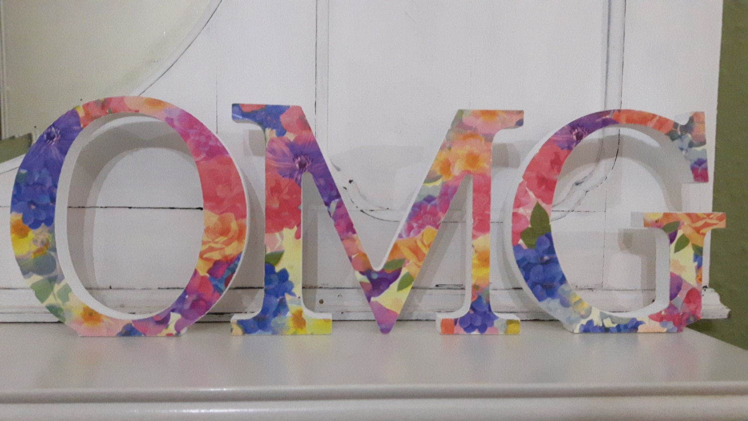 Gorgeous bright floral covered OMG free standing wooden decoupaged letters. 15 cm high