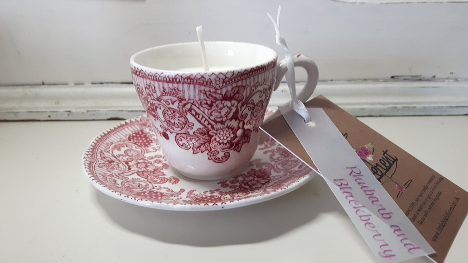 Hand poured  soy wax  vintage dainty Wedgewood coffee cup candle, scented with lemongrass, lemon drizzle cake and rhubarb and blackberry.