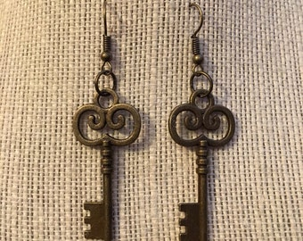 Bronze Key Earrings