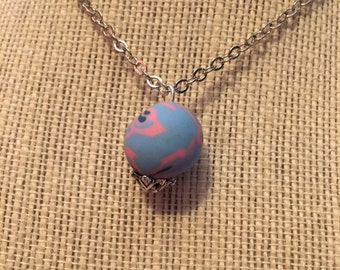 "20"" Silver LightBlue&Pink Bead Necklace"