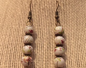 8mm Orange&Green on White Marbled Bead Earrings