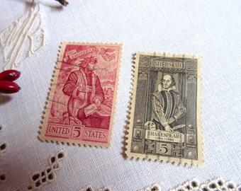 Vintage Shakespeare Stamp , Dante Stamp ,   Old Stamps  ,  Postage Stamps set of 2.