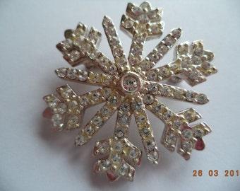 Vintage Signed Monet AB Stones Snowflake Brooch/Pin