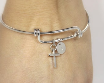 Cross bracelet women•silver cross and initial bangle•personalized cross bracelet•christian jewelry•faith bracelet• catholic jewelry• gifts