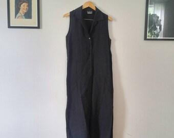 Ankle Length Sleeveless Navy Linen Dress  medium