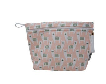 Alpaca Lined Makeup Bag or Wet Bag- BPA Free- Machine Washable