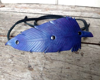 Leather Feather Head Band - Bright Purple