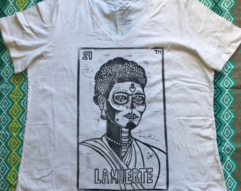 Size Women's 3X (22W-24W), LA MUERTE - Frida Kahlo, Loteria (Mexican Bingo) Design, White T-Shirt