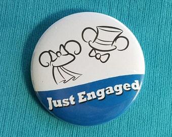 Just Engaged Ears Button - Mr. & Mrs. - Disney Wedding - Disney Cruise - Disney World - Disneyland - Celebration Button - Engagement