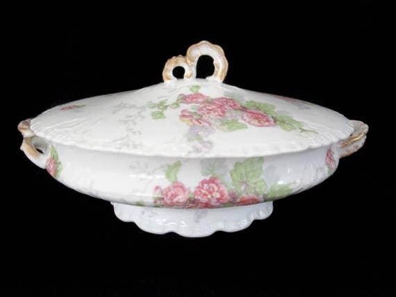 Antique Limoges Serving Dish, Large Oval Vegetable, Jean Pouyat, JPL Limoges, Pink Carnations, Pink Floral Limoges Vegetable Dish