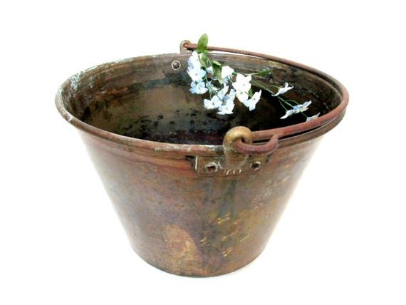 Antique Brass Water Bucket, Large Water Pail, Functional or Decorative Old Water Bucket, Rustic Primitive Decor, Farmhouse Decor
