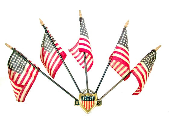 Antique Car Ornament, Annin Patriotic US Car Ornament, Parade Car Ornament, Complete with all 5 Original 48 Star Flags, 1920s