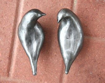 Set of two silver love bird sculptures, hand made ceramic birds by Meredith O'Neal