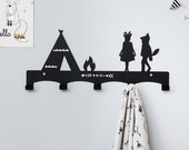 Teepee Children's Coat Rack / Nursery Wall hanger / Kid's Coat Rack / Kids Room hooks / Tribal Wall Decor