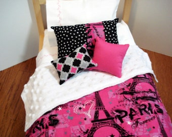 """18"""" DOLL BEDDING pink and black Eiffel Tower  Comforter  designed for dolls like American Girl® doll and Wellie Wishers doll™, doll Bedding,"""