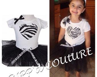 Black white and zebra tutu set