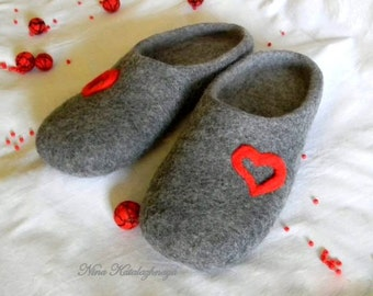 Felted men's Slippers Valentine's day Felted wool grey slippers Handmade slippers Made to order Men gift Valentine's day