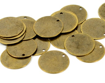 150 Pcs.  Antique Brass 16 mm Round Disc Findings