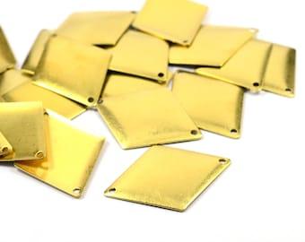 10 Pcs. Raw Brass 25x34 mm Rectangular 2 Hole Findings