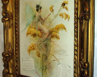 Fairy Semi Nude Goddess Nymph In Grey Sitting on Stalk of Yellow Goldenrod Flower Original 1898 Antique Fabulous Ornate Gold Frame Picture