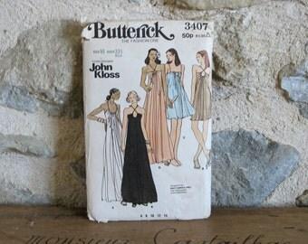 1970s Butterick 3407 John Kloss gown sewing pattern, Uncut Size 10 Bust 32.5