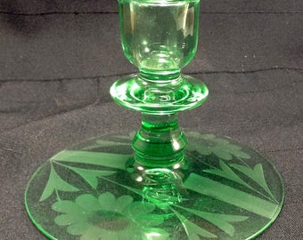 Vintage Green Etched Cornflower Candle Stick Holder/Art Deco/Collectible Glassware/Excellent Condition