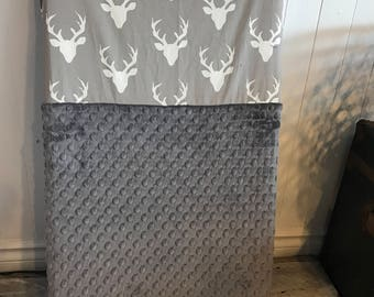 crib sheet for changing mat, deers heads on grey, choice of minky color in the options (see pictures)