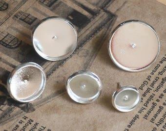 100 Blank Post Earring- Brass Silver Plated 8mm/ 10mm/ 12mm/ 14mm/ 16mm Round Bezel Setting Ear Studs W/ Rubber Ear Nuts Wholesale