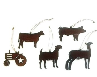4H Show Farm Animals Pig Heifer Tractor Goat Lamb Ornaments made of Rustic Rusty Rusted Recycled Metal