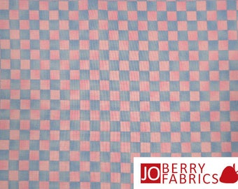 Pink and Blue Check Fabric, Graphix by Paintbrush Studio, Quilt or Craft Fabric by the Yard