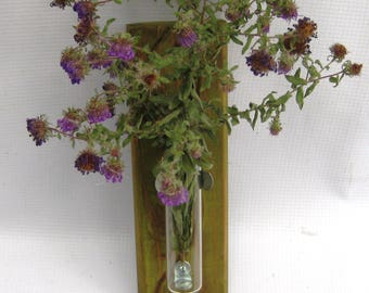 Test tube wall vase, small wall vase, hanging bud vase, distressed reclaimed carved wood and test tube vase, wall flower