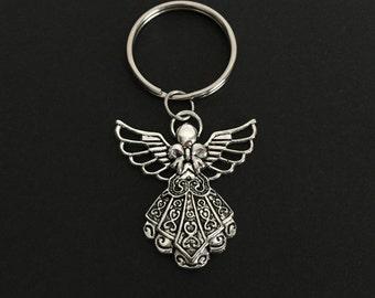Angel Key Chain. Guardian Angel Key Chain. Memorial Key Chain. Heaven Key Chain. Holiday Gift Idea. Angel Ornament. Christmas Tree Ornament.