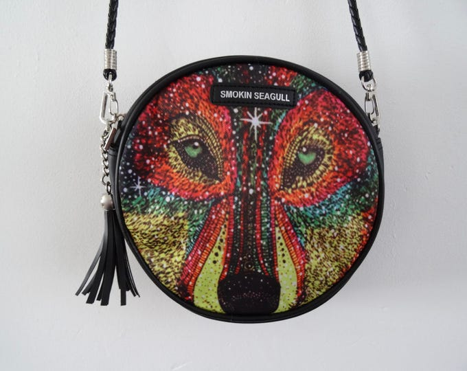 Galaxy Wolf Round Handbag - Glitter Disco Colourful Quirky Clubbing Bag
