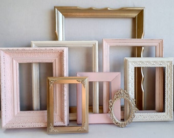 Custom Picture Frames -Blush Champagne Gold And Cottage White - Vintage Ornate - Baby Nursery - Shabby - Distressed - Gallery Wall - Wedding