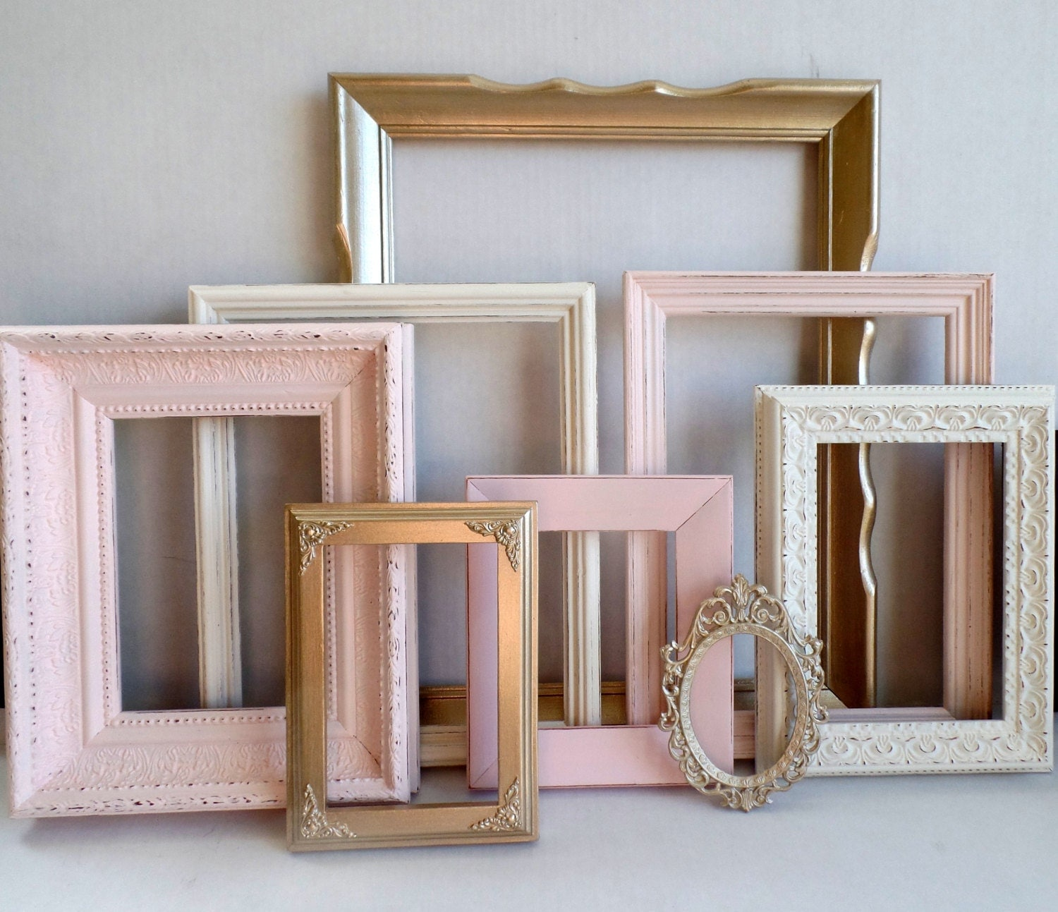 Custom Picture Frames Blush Champagne Gold And Cottage White