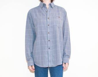 on sale - 90s 00s lightweight blue plaid shirt / unisex long sleeve button-down / size L / XL