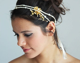 Wedding Pearl Headband, Bridal Headband, Pearl Wedding Headpiece, Gold  Headpiece, Wedding Hair Accessories