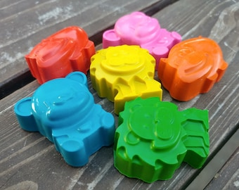 Zoo Animal Crayons set of 48 - Lion Crayons - Hippo Crayons - Bear Crayons - Zoo Party Favors
